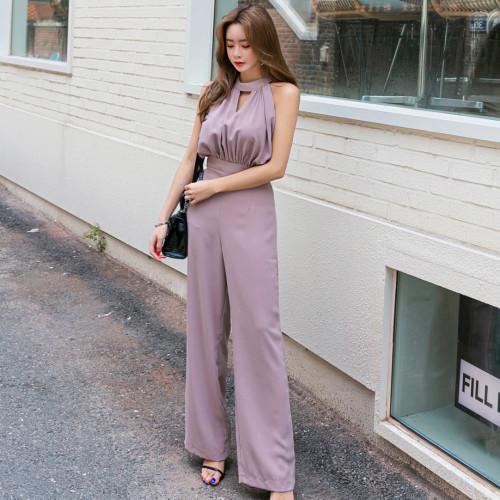 2021 Summer New Women's Korean Style Neck Jumpsuits Slim Waist Sleeveless Off Shoulder Wide Leg Long Rompers Office Lady