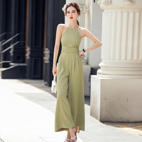 Elegant Ladies Sleeveless Jumpsuits Rompers Slim Waist Loose Female Wide Leg Pants 2021 Summer Women Rompers