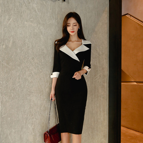 Women Spring Dresse Casual Office Lady Elegant Business Bodycon Wear to Work Dress Vestidos Clothes