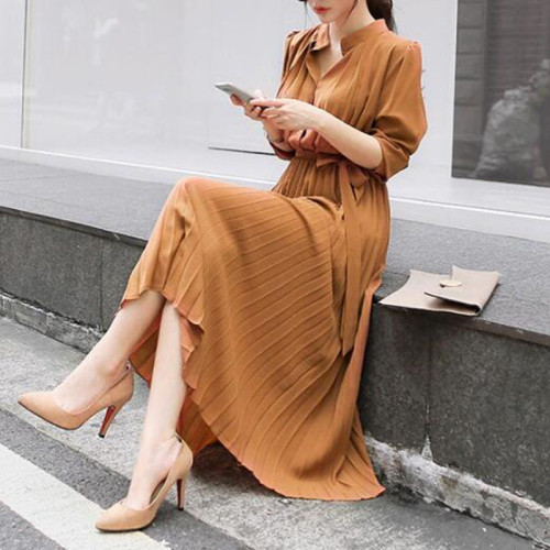 Women's Dress Spring Pleated Fashion 2021 New Plaid Slim High Wasit Long Temperament Office Female Dresses Long Sleeve Casual