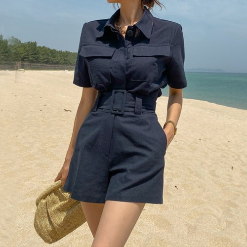 New Korean Crop Jacket Casual Shorts Pants Two-piece Suit Women Summer Streetwear High Street Outfits Woman Office Sets