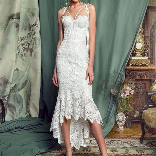 Women Dress Asymmetry White Lace Dresses Women Plus Size Sleeveless White Long Asymmetry Mermaid Dresses Women 2021 New