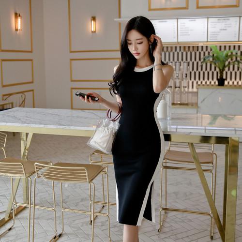 Brief Style Party Dress Women Sleeveless Black Knitting Bodycon Sheath Dresses Casual Vestidos