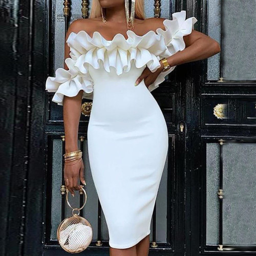 Ruffle Bodycon Party Dress Women Sexy Off Shoulder African Dinner Club Elegant Evening Vestido Female White Midi Dresses Summer