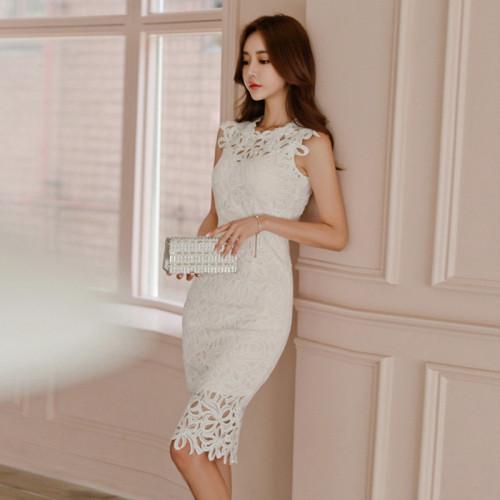 Sheath Dress White Lace Hollow Women Vintage Zipper Dresses O-Neck Crochet Floral sexy Fashion Temperament Vestido