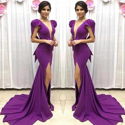 Party Slim Dress Women Sexy Deep V-neck Dresses Purple Ladies Dinner Split Fork Sleeveless Elegant Long Dres