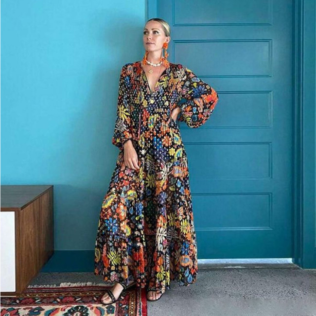 Women Dress V-neck Lantern Sleeve Printing Dresses Women Plus Size Long Sleeve Vintage Long Flowers Dress Womens 2021