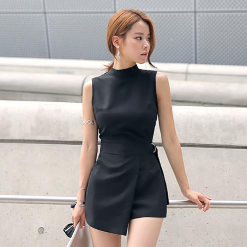 2021 Summer Plus Size Solid Playsuit Women Black Sleeveless Casual Office Playsuits Shorts Vintage Elegant Asymmetrical Jumpsuit