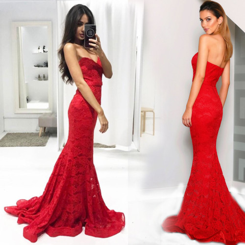 New arrival Strapless Sweetheart Lace Mermaid Dresses fishtail Wedding Gown