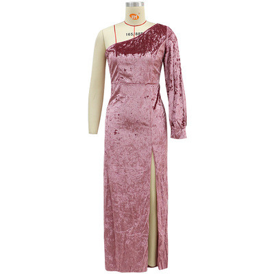 Sexy Velvet Mermaid Evening Dresses Caftan One Shouder High Split Formal Party Gowns Longo Prom Dresses Party Gowns