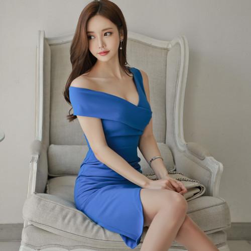 Fashion Work Business Dress Women Elegant One Shoulder V-neck Irregular Female Dresses Casual Blue Summer Vestidos