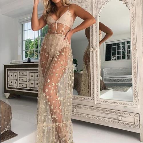 2021 Summer Women Sexy Long Beach Dress Spaghetti Strap Stars Print Transparent Sleeveless Mesh Maxi Dress