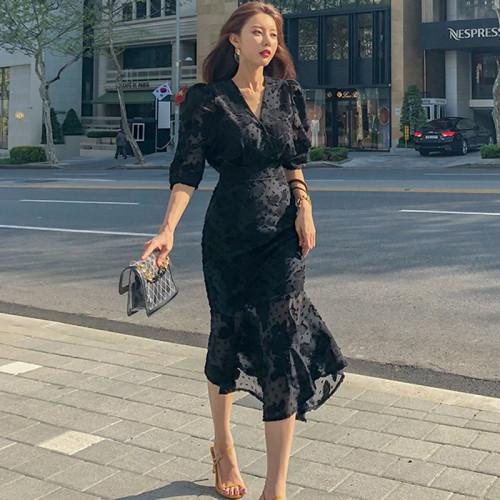 2021 Summer Clothing New Style Korean-Style Elegant V-Neck Mock High-Waisted Slim Fit Half-Sleeve Trumpet Mermaid Dress
