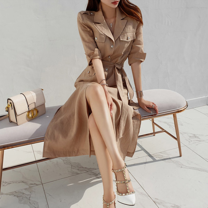 2021 New Summer Elegant Women Dress V-neck Single-breasted Long Dress Female Half Sleeve Straight Loose Vestidos Office Lady