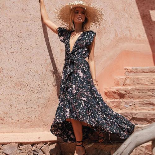 Summer Bohemian Style Women Dress 2021 Fashion Sexy Deep V-neck Print Ruffles Maxi Dress
