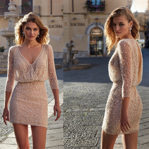 legant Women Long Sleeve Dress Sexy V-neck Slim High Waist Sequins Beading Women Above Maxi Party Dress Vestidos 2021