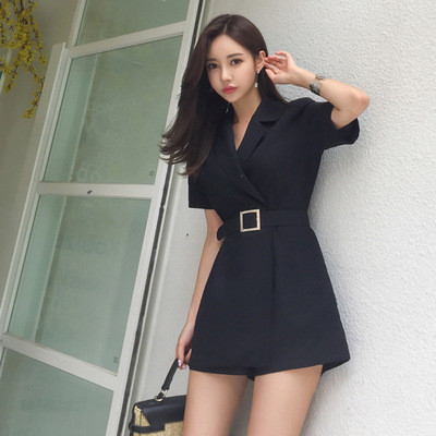 New Arrival Ladies Fashion Temperament Comfortable Jumpsuit Elegant Work Style High Quality Vintage Playsuit With Sashes