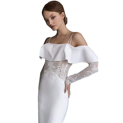 New Ladies Dress Costume European and American Style One-way Neck Strapless Sexy Slim Bag Hip Lace Solid Color Woman Dress