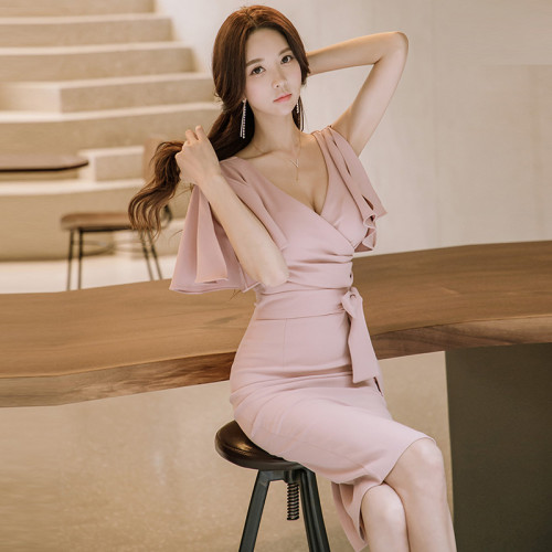 2021 Spring Women Office Work Midi Dress Elegant Solid Color Chic Short-Sleeve V-neck Pink New Bodycon Formal Party Pencil Dress