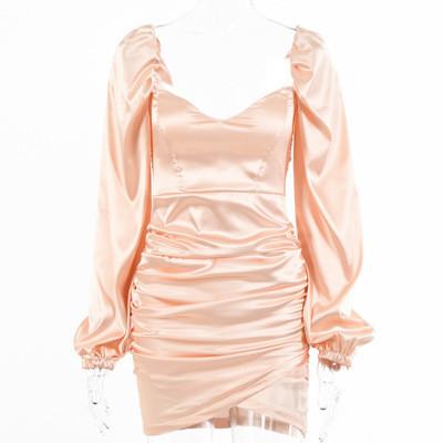 Satin Lantern Sleeve Ruched Sweetheart Party Dress Women Square Collar Split Sexy Dresses Female Elegant Short Dress