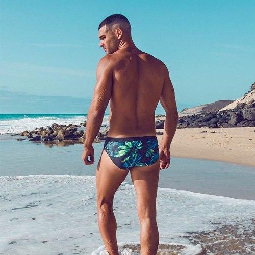 Mens Low Waist Swim Brief Bikini Swimwear Swimsuits Quick Dry Leaf Printed Breathable Summer Surf Trunk Beach Shorts