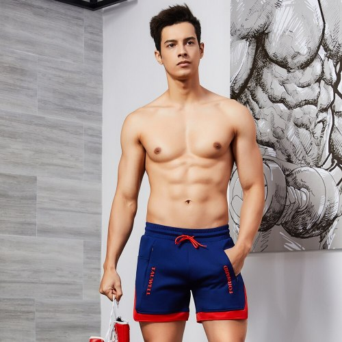 Mens Running Shorts Solid Soft Patchwork Loose Drawstring Male Clothing Comfortable Gym Summer Pants Men Gym Bodybuilding pants