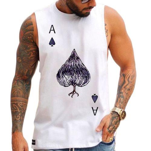 2021 Summer Men's Vest Style Black Dot Print White Fashion Short Sleeve Top