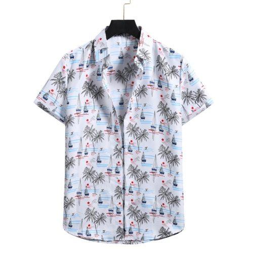 2021 summer new men's short-sleeved casual large size pattern beach shirt
