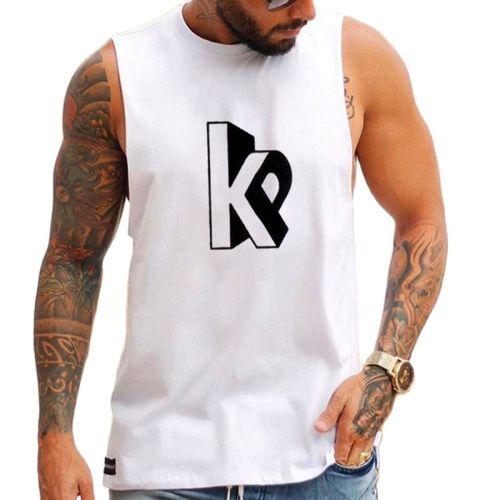 2021 summer men's new white sleeveless casual plus size shirt men's letter k printing vest