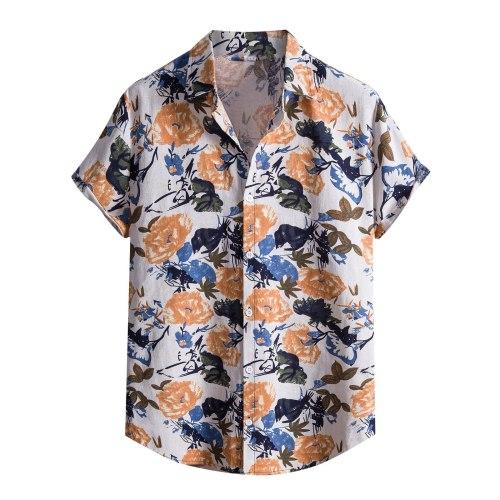 Stylish Floral Print Hawaiian Aloha Shirt Men 2021 Summer New Short Sleeve Beach Shirts Mens Holiday Party Vacation Clothing #3