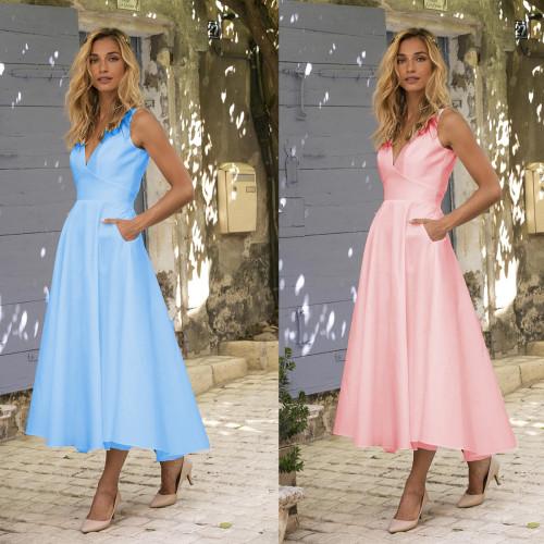 Solid Vintage Women Summer Dress 2021 Casual V-neck Sleeveless A-line Beach Midi Dresses Vestidos Pink Blue White