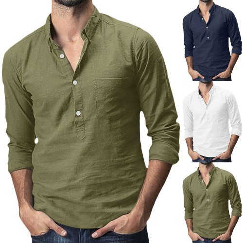 Fashion Men's Baggy Cotton Linen Solid Color Turn-down Collar Pocket Blouses Casual Breathable Long Sleeve Shirts Tops Camisa#G3