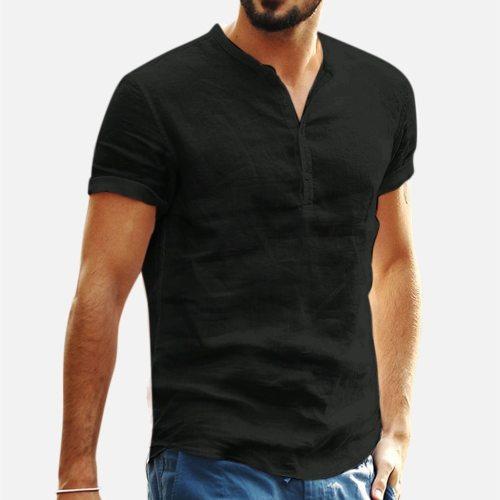 Summer Men's T Shirts Baggy Linen Soid Color Short Sleeve Retro Tops 2021 Fashion Print Shirts For Men Plus Size Streetwear