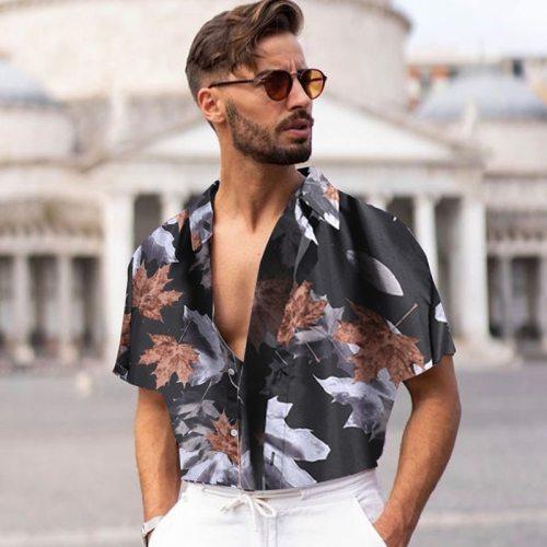 90s Vintage Print Men Lapel Shirts New Casual 2021 Summer Loose Short Sleeve Button Shirt Tops Mens Clothing Fashion Streetwear