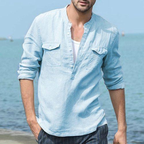 3 Style Cotton Hemp Shirt Men's Casual Round Collar Hawaiian Beach T-Shirt Loose Casual Long-Sleeved Shirt With Multiple Pockets