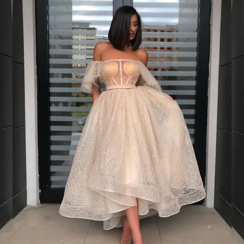 Charming Sexy Ball Gown Ankle Length Prom Dress Strapless Short Sleeves Formal Champagne Evening Party Gown