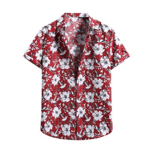 Hawaiian Men's Floral Printed Shirts Male Summer Slim Fit Casual Beach Shirt Male Short Sleeve Flower Print Beach Shirt Chemise