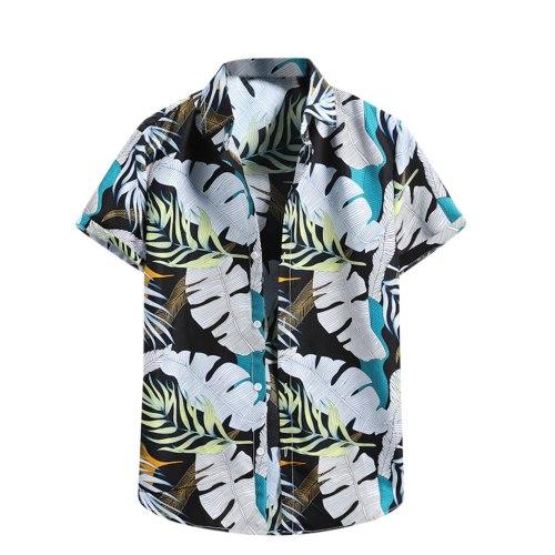 Men's Shirts Fashion Short Sleeve Hawaiian Beach Flower Shirt Fashion Casual Printing Button Cardigan Beach Shirt Mens Clothing