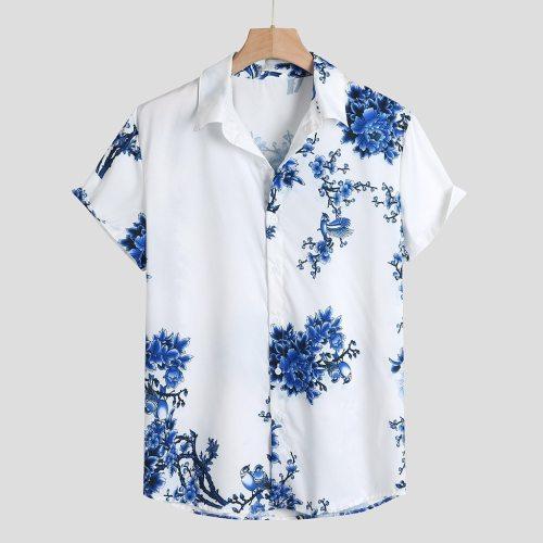 Mens Loose Lump Chest Print Short Sleeve Turn-down Collar Round Hem Shirts 2021 Mens Summer Shirts Casual Short Sleeve Beach Top