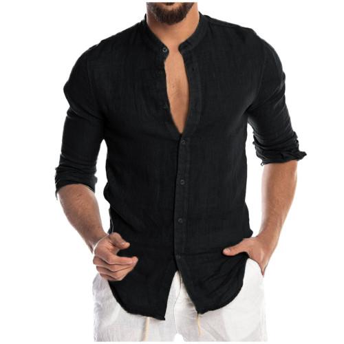 Men's Casual Blouse Cotton Linen Shirt Long Sleeve Summer Button-Down Shirts For Men