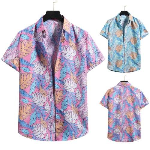 Male Shirt With Print Cardigan Short Sleeve Hawaiian Beach Flower Shirt Men Turtleneck Shirt Comfortable Breathable Man Blouse