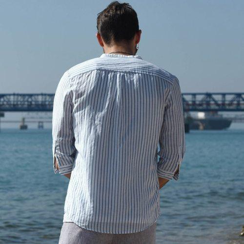 2021 New Men's Casual Blouse Stripe Shirt Loose Tops Short Sleeve Thin Shirt Autumn Summer Men Streetwear Shirt Camisas Hombre