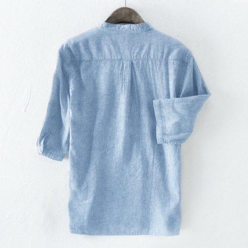 Mens' Dress Shirts Fashion Stripe Button Casual Baggy Shirt Social Linen Cotton Long Sleeve Summer Top Blouse Bussiness Camisa