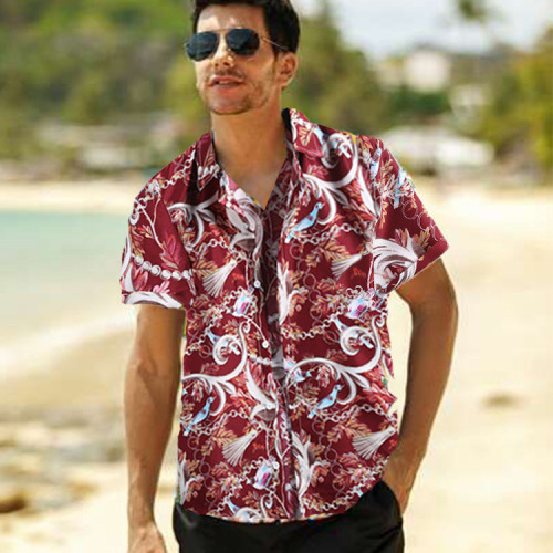 2021 Summer Fashion Short Sleeve Tops Buttoned Cardigan New Hipster Shirt Men Vintage Style Floral Print Loose Casual Shirts Men