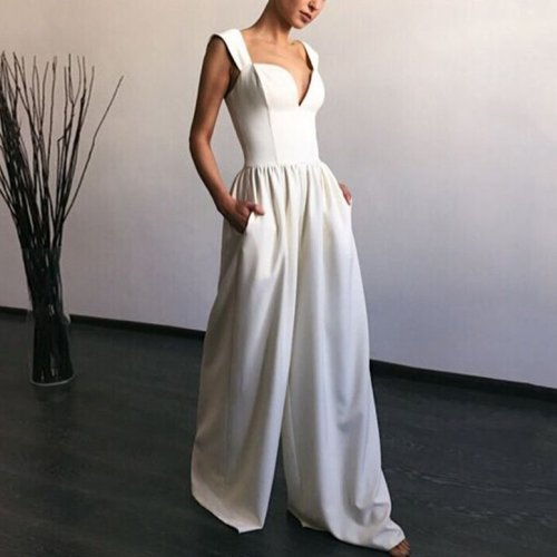 2021 New Summer Leisure Women Fashion Street Slim Sexy Commuter Comfort Pure Color Sleeveless Loose V-neck Long jumpsuit