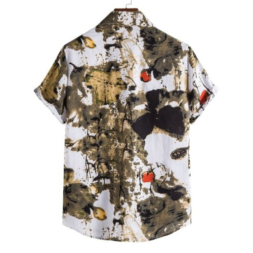 2021 Amazon Independent Station New Short Sleeve Retro Printed American Shirt Rest Large Size Men's Wear
