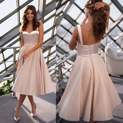 Pink Satin Dresses Women Summer Sexy Sleeveless Spaghetti Strap Backless Midi Dress Elegant Ladies Evening Party Dress Vestidos