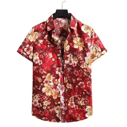 2021 Summer New Shirt Men's Large Size Men's Floral Printed Beach Short Sleeve Top