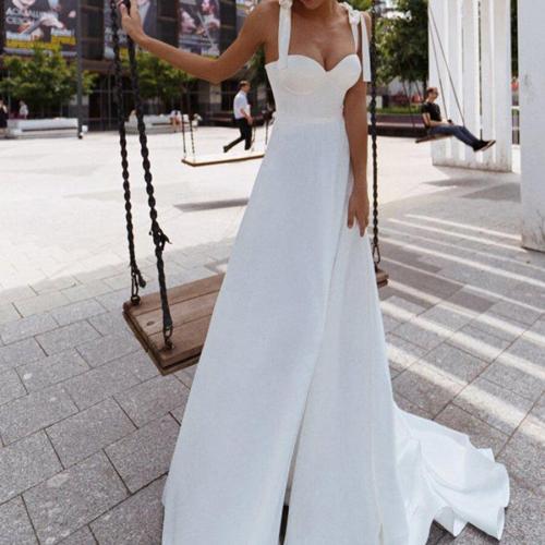 Simple Satin Wedding Dress Ties Shoulder A Line Bride Dresses Swetheart Robe de Mariage Cheap Wedding Gowns Women