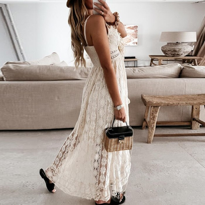 2021 Summer Elegant Tassel V Neck Women Long Dress Fashion Sleeveless Strap Party Dress Sexy Hollow Out Crochet Lace Beach Dress